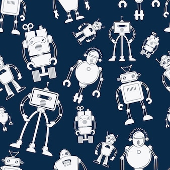 White robot on blue seamless pattern