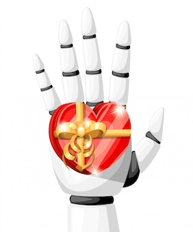 White robot hand or robotic arm for prosthetics holds a gift in the form of a heart with a gold bow  illustration  on white background website page and mobile app