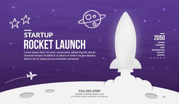 宇宙背景に打ち上げられる白いロケット、起業コンセプト