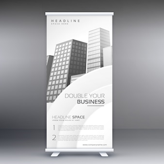 White roll up banner design