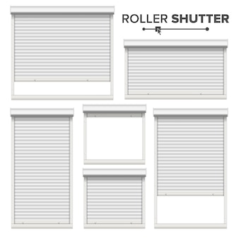 White roller shutters set