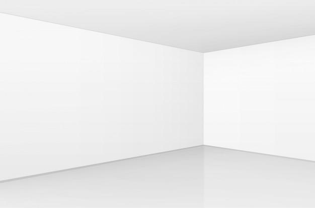 빈 벽 배경으로 최소한의 스타일로 화이트 룸 인테리어