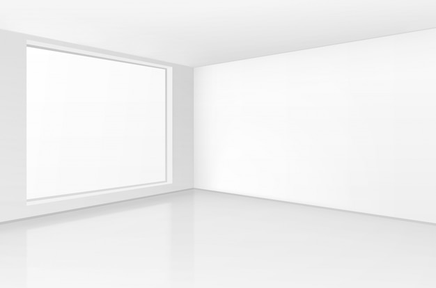 White room interior in minimal style with empty wall background