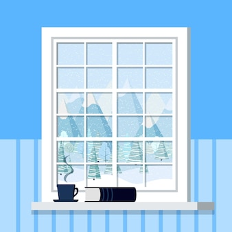 White room window frame with cup and book on the windowsill in cartoon flat style.