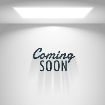White room with light and coming soon text Free Vector