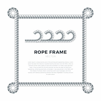White rope woven frame with rope knots, white background with text template