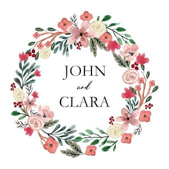 白いバラと緑の花の水彩画の花輪
