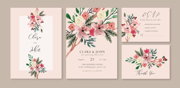 白いバラと暖かい葉の花の水彩画の結婚式の招待状