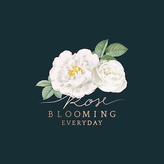 White rose blooming card design