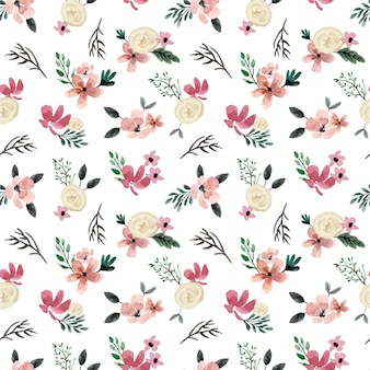 White rose and cream mini floral watercolor seamless pattern