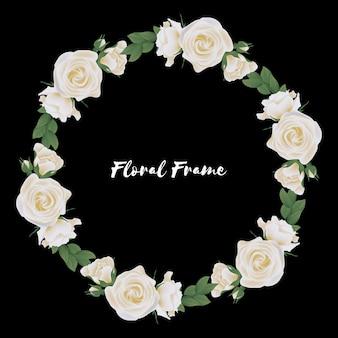 White rose flower circle frame