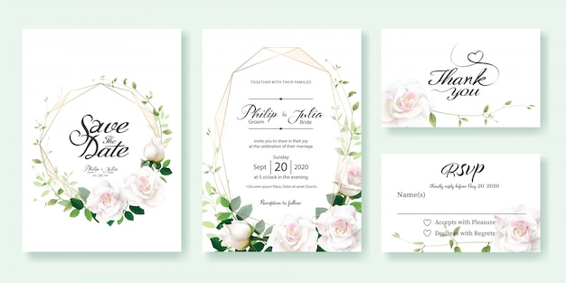 White rose flower wedding invitation card