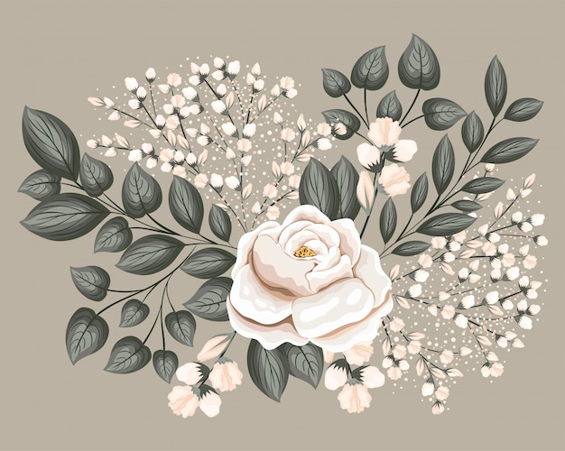 White rose flower with leaves painting design, natural floral nature plant ornament garden decoration