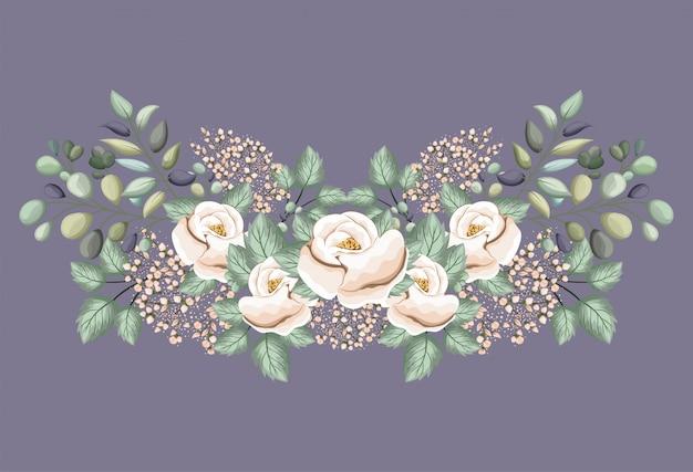 Белые розы цветы с листьями, живопись дизайн, природный цветочный природный растительный орнамент украшение сада и иллюстрация темы ботаники