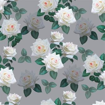 白いバラのシームレスパターン