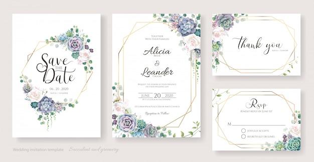 白バラと多肉枝の結婚式の招待カード、日付を保存、ありがとう、rsvpテンプレート。
