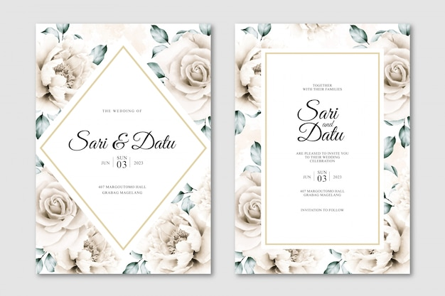White roses and peonies wedding invitation template