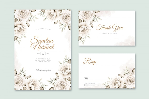 White roses wedding card set template