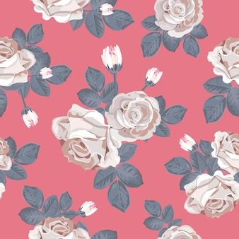 White roses with blue gray leaves on red background
