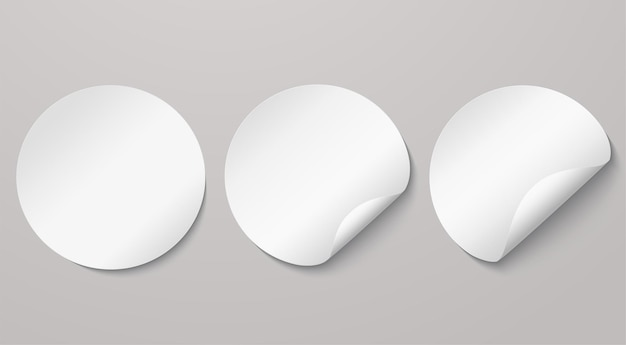 White round adhesive stickers with curved edges. empty note mockup, ad sticker with turned edge.