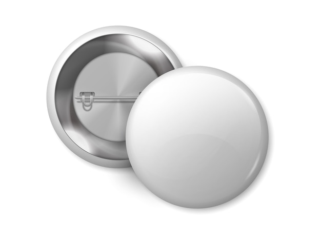 White round badge. pin button blank merchandise, realistic 3d metal label design template