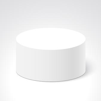 白い丸い箱。パッケージ。 。