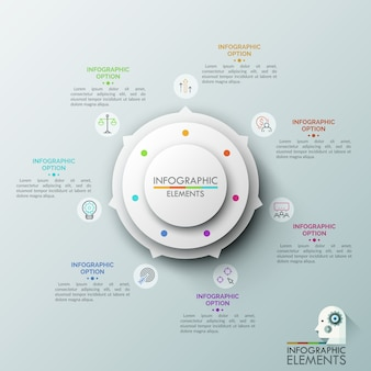 White round chart with 7 arrows pointing at colorful thin line icons and text boxes. concept of circular pointer with seven options.