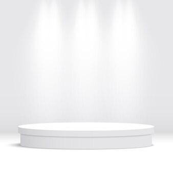 白い丸い空の表彰台。ペデスタル。シーン。図。