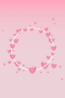 White round frame with pink heart shaped balloons on light background