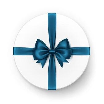 Белая круглая подарочная коробка с блестящим темно-синим бирюзовым атласным бантом и лентой