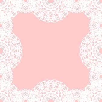 분홍색 배경에 흰색 라운드 레이스 테두리