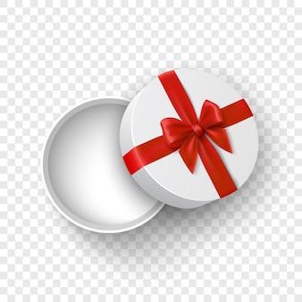 Белая круглая открытая подарочная коробка с красным бантом