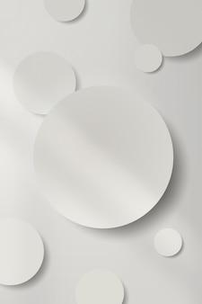 그림자 패턴 배경 벡터와 흰색 라운드 종이 컷