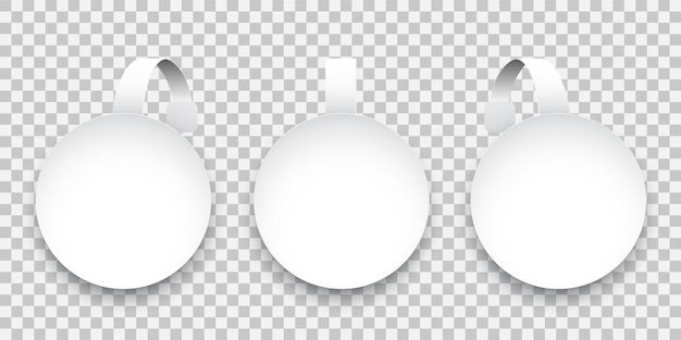 투명 한 배경에 고립 된 흰색 둥근 종이 흔들기