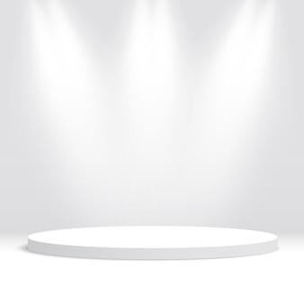 白い丸い表彰台。ペデスタル。シーン。図。