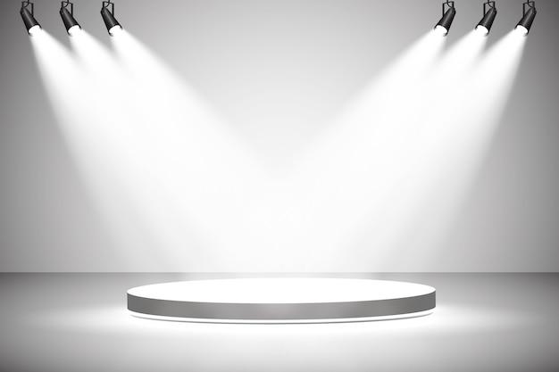 흰색 라운드 연단. 받침대. 장면.