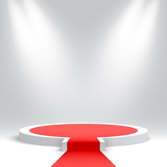 White round podium with red carpet blank pedestal with step and spotlights