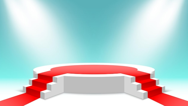 White round podium with red carpet and stairs blank pedestal with steps and spotlights