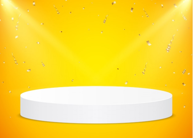 White round podium with spotlights and gold confetti on a yellow background. pedestal for product presentation.
