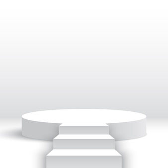 階段付きの白い丸い表彰台階段付きの空白の台座製品ディスプレイプラットフォームステージ