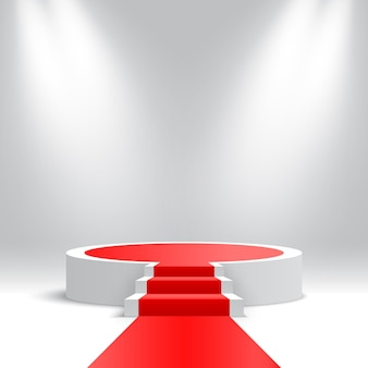 White round podium with stairs and red carpet blank pedestal with steps and spotlights