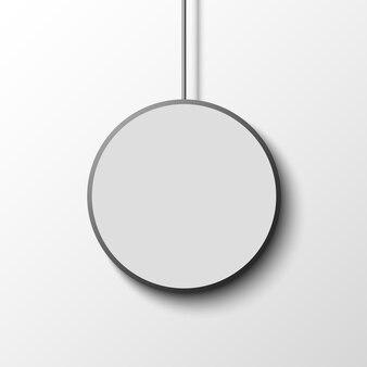 Белый круглый плакат на белой стене. ,
