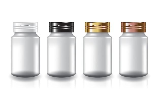 화이트 라운드 보충제, 약병 4 색 캡 뚜껑으로 미용 또는 건강 제품.