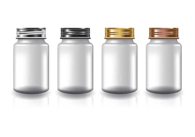 흰색 둥근 보충제, 약병 4 색 나사 뚜껑 미용 또는 건강 제품.