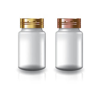 White round supplements or medicine bottle with two colors gold-copper cap lid.