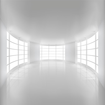 White rounded room illuminated by sunlight for background