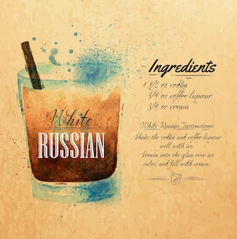 White russian cocktails watercolor blots and stains