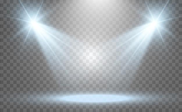 Белая сцена с прожекторами. иллюстрация.