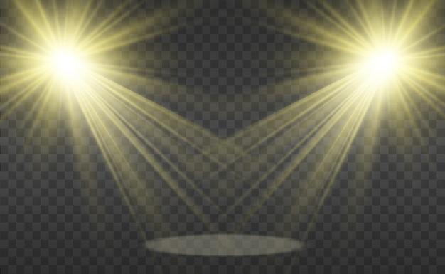 Белая сцена с прожекторами. векторная иллюстрация