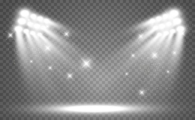 스포트 라이트 벡터 일러스트와 함께 흰색 장면